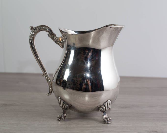 Vintage Water Pitcher / Silver Plated Footed Carafe with Queen Anne Legs