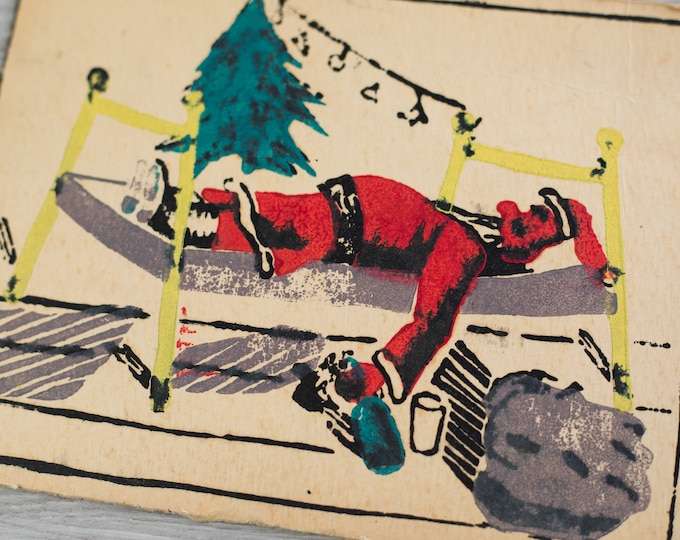 Christmas Card Stamp Kit / Mid-century Printmaking Silkscreen Hand-cut Wood Block with Passed out Drunk Santa Claus