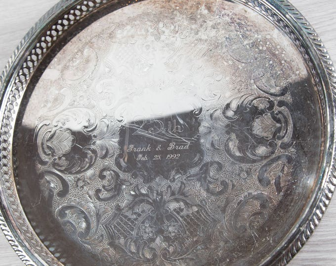 Vintage Silver Plated Tray / Metallic Serving Bar Cocktail Tray with Etched Ornate Paisley Floral Flower Design / LGBT Gay Interest