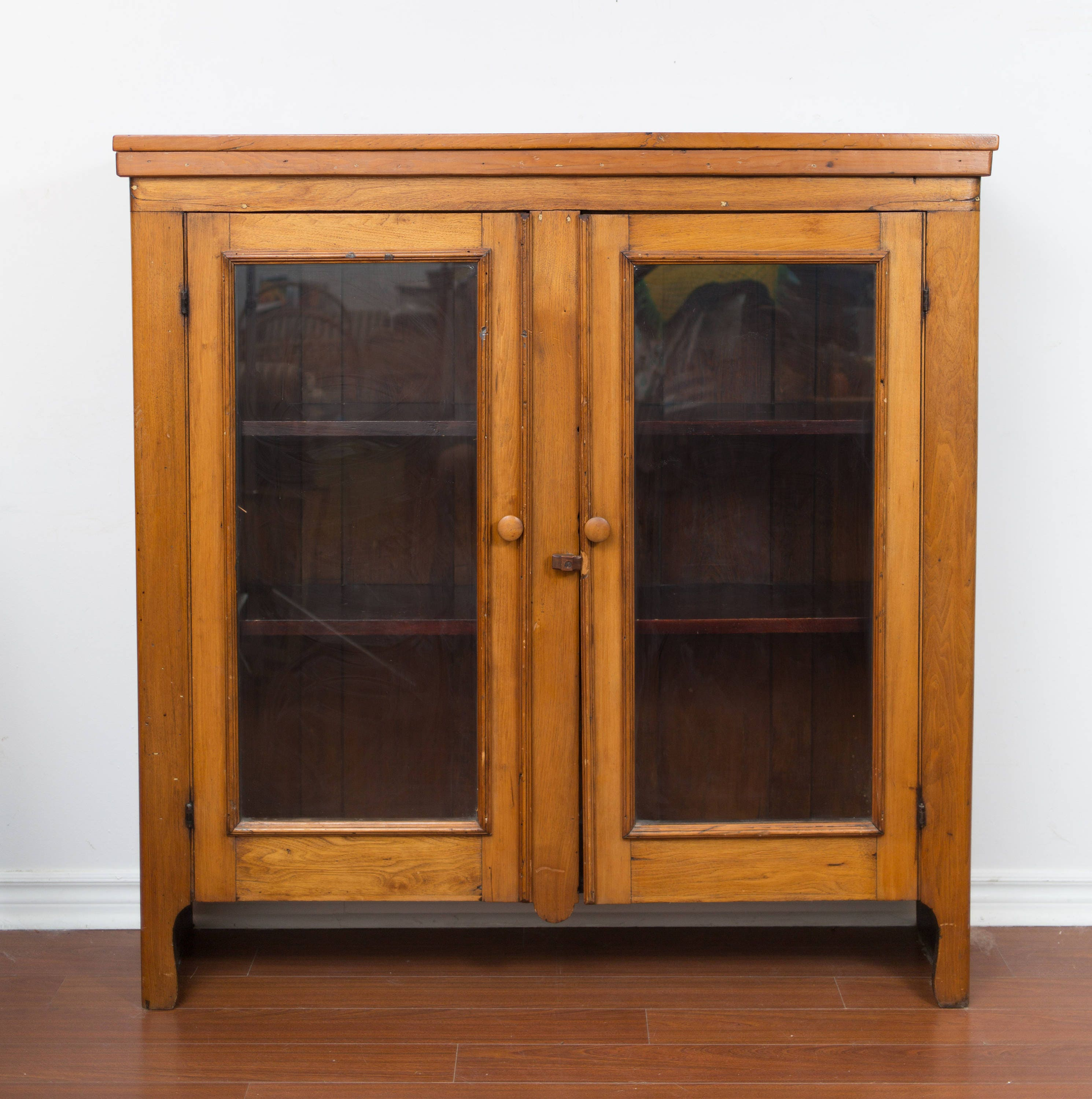 Antique Wood Cabinet Toronto Early 1900 S With Shelving And Glass Doors Primitive Canadiana Rustic Home Decor