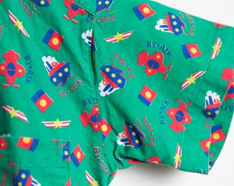 Vintage Kids Shirt - 70's Toddler Short Sleeve Casual Nautical Green Shirt with Airplanes, Boats
