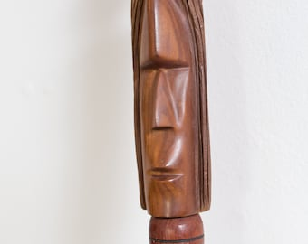 Vintage Wooden Cane - Natural Teak / Rosewood Walking Stick with carved face and brass details- Toronto Vintage - Canada Second Voyage