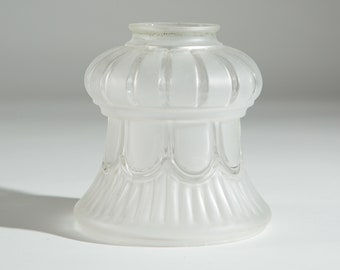Vintage Glass Shade -Translucent Frosted Ruffled / Pleated Glass Pendant Chandelier Shade for Ceiling Fan Light Fixture or Lamp
