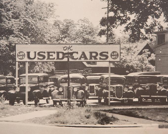 Vintage Used Car Photo -  Large Black and White Antique Car Dealer Lot