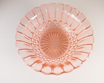 Pink Glass Bowl - Antique Depression Era Glass Salad Bowl - Vintage 1930s Pleated Shell Bowl with Biscuit Pattern