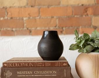 Handmade Ceramic Pot - Black Vintage Boho Bubble Planter - Studio Pottery Tribal Pattern Art Pot - Numbered Pottery