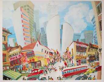 """1976 """"Dundas Street China Town"""" Limited Edition Print of Whimsical Painting by Carlos Marchiori / Toronto Canada Cityscape / Ribba Frame"""