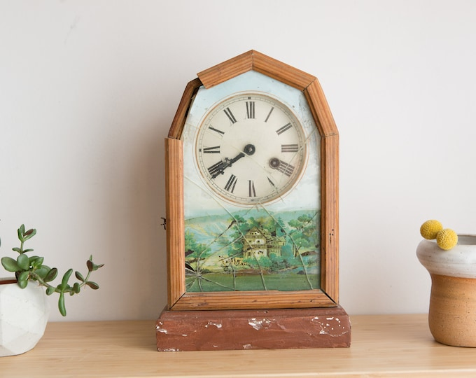 Antique Mantle Clock - French Victorian Style Round Face Clock with Image of Country Scene