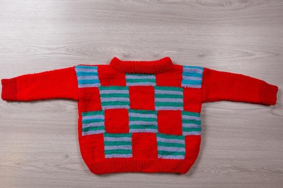 Kids Knit Sweater - Vintage Oversized Hand-knit Pu