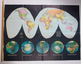 Large World Map - Vintage Pictorial Atlas of Globe from Life Magazine - Copyright Randy McNally and Co, Made in USA - Home Office Decor