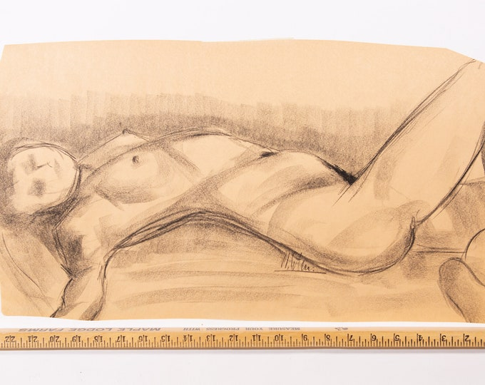 Nude Female Drawing, Signed - From Toronto, Canada Artwork Of Woman's Breast and Body - 1980's Erotic Bust Art