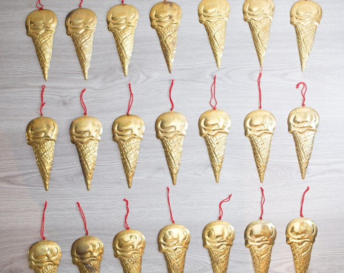 Brass Ice Cream Cones / Set of 21 Decorative Hanging Christmas Tree Ornaments / Kids Children Bedroom Wall Collage Decor