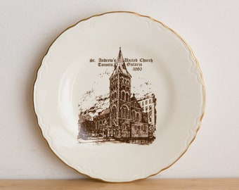St. Andrews United Church, Toronto, Ontario, Canada Plate - 22k Gold Decorative Religious Wall Decor - Decorative Wall Plate