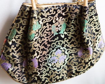 Vintage Asian Bag - Silk-like Fabric Ornate Brocade Gold Floral Embroidered Purse - Asian Influence Design - Mother's Day Gift