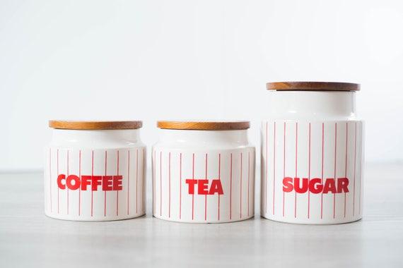 Retro Tabak Keukens : Vintage canister set koffie thee suiker vaten diner etsy