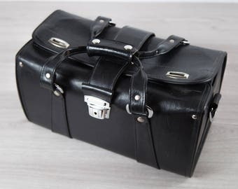 Vintage Leather Camera Bag / Black DSLR Carrying Case with Silver Buckles