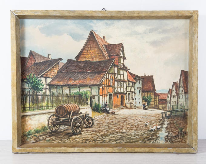 Antique Framed Painting / Original Artwork by Pitt Manderbach 1953 / Rustic Country Dutch Scene with House and Town and Cobblestone