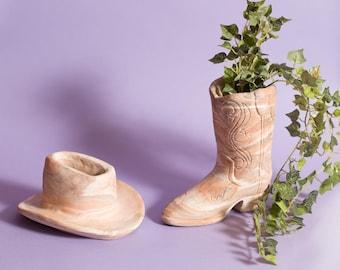 Boot and Hat Planters - Vintage Soapstone Cowboy Western Boot Flower Planter - Ranch Decorative Flower Pots