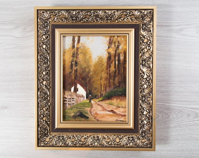 Antique Framed Painting on Board / Rustic Country Scene with Moody Clouds  / Signed Artwork with Gold Ornate Frame