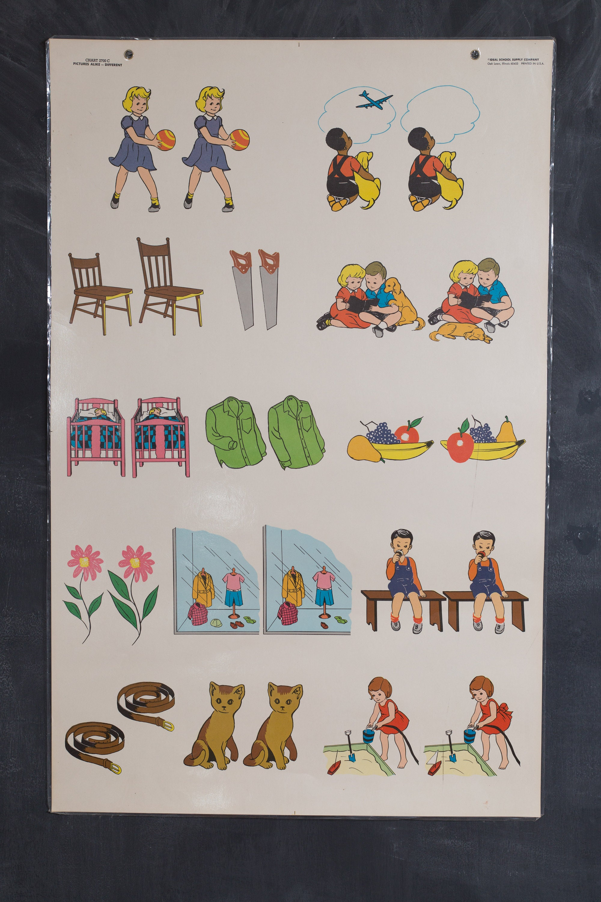 vintage ideal school supply company learning chart