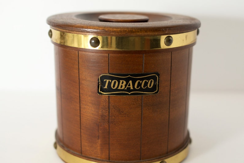 4e7b93e5627 Vintage Wood Tobacco Bucket with Gold Metal Detailing   Gift
