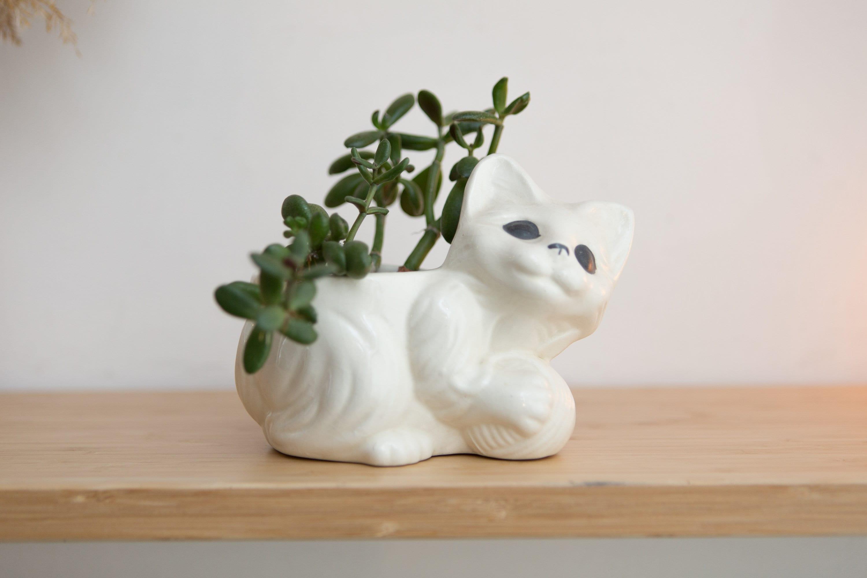 Home Decor Ceramic White Cat Planter Home Decor Vintage Home Decor Cat Decor Vintage Planter