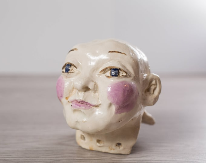 Ceramic Doll Head / Vintage 1970's Canadiana Handmade Ceramic Figuring Art