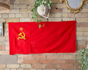 Vintage Soviet Flag / 1980's Russian Soviet Union Memorabilia / USSR Red and Golden Hammer and Sickle and Star - State Symbol Army Flag