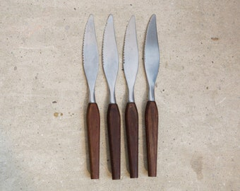 Gemetco Stainless Steel and Rosewood Butter Knives - Vintage Mid Century Modern Danish Kitchen Decor