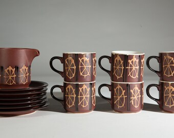 Vintage Ceramic Coffee Mugs - Set of six 7oz Earth-tone Carriage Wheel Style Pattern Cups with Brown Tone - Expresso Latte