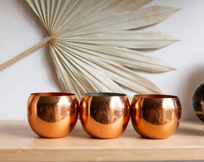 3 Vintage Copper Mugs - Coppercraft Guild Roly Poly Cocktail Cups - Mid Century Boho Modern Short Tumblers - Pot Planters - Copper Planters