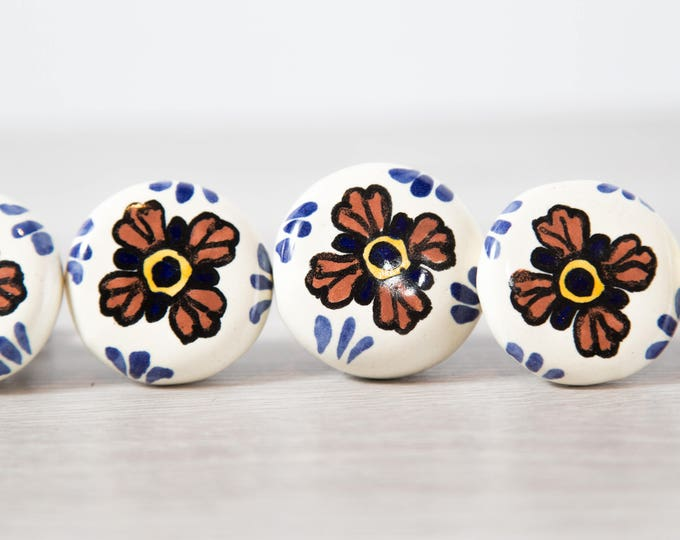 Vintage Ceramic Knobs / Set of 5 Hand Painted Floral Drawer Handles with Flowers