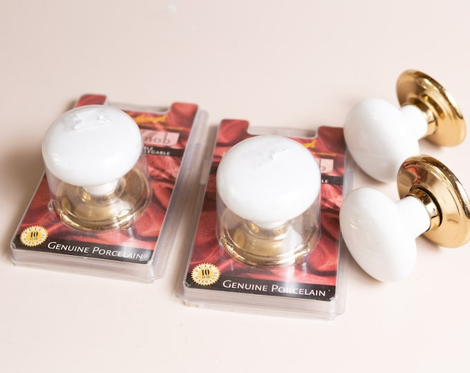 4 Vintage Porcelain Bi-Fold Interior Dummy Door Knobs by Gainsborough  - White Handle and Gold Hardware Door Pull from Australia