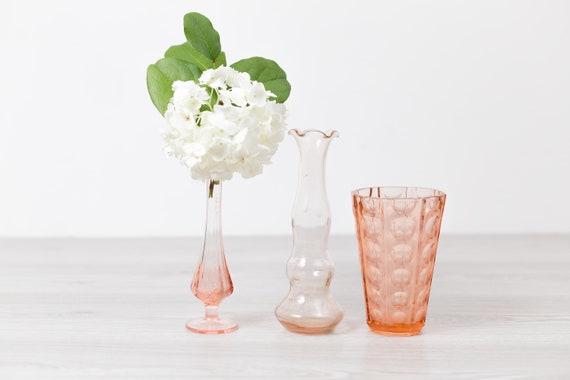 Antique Pink Glass Vases Vintage Depression Glass Decor Etsy