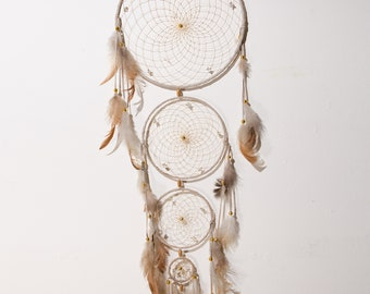 Large Dream Catcher - DreamCatcher with Feathers, Beads, Leather