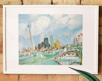 """1976 """"Toronto Skyline"""" Limited Edition Print of Whimsical Painting by Artist Carlos Marchiori / Toronto Canada Cityscape / Historic Landmark"""