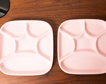 Vintage Divided Plate - Pink Ceramic Dinner Plate - Made in Japan