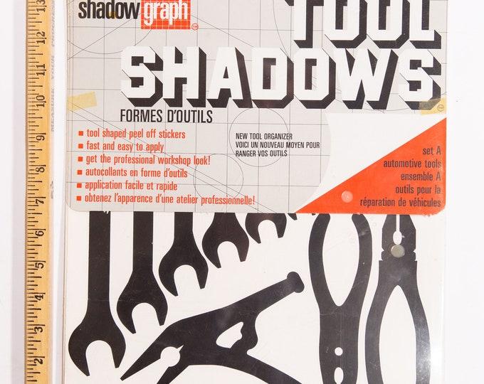 Vintage Tool Shadows Sticker Kit - Set of Automotive Black Shadow Stick on Tools - Retro Mechanics - Workshop Decor - Mancave