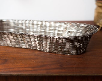 Vintage Silver Plated Basket - Woven Metal Decorative Bowl