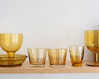 Vintage Glass Goblets, Glasses, Tray - Amber Colored Cocktail Glassware