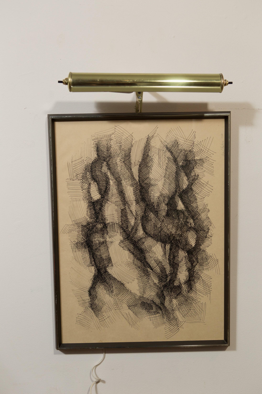 Original Vintage Drawing Dark Abstract Galactic Pencil Sketch