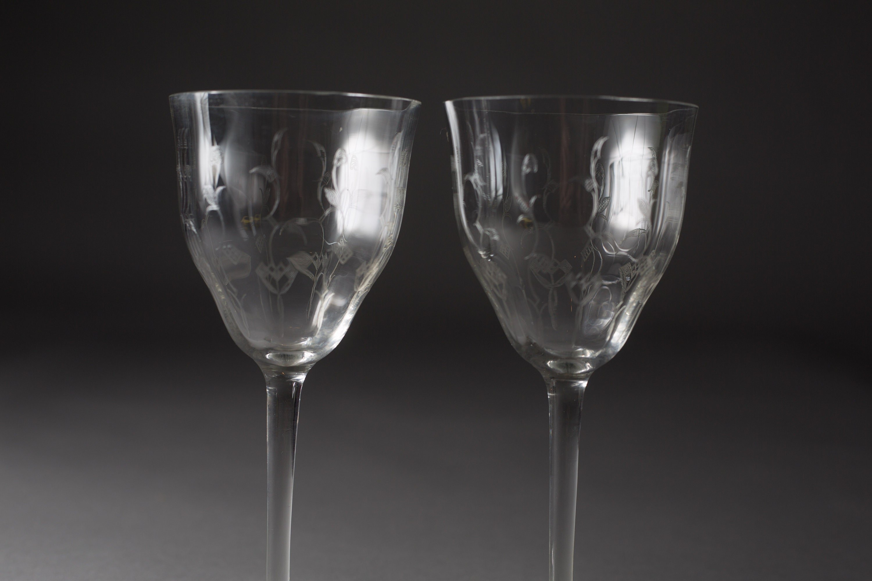 antique wine glasses etched