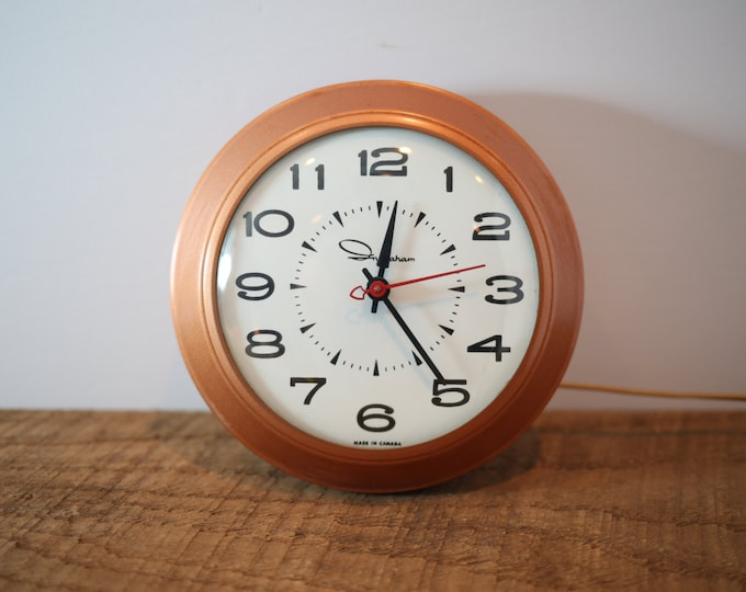 70's Ingraham Copper Coloured Electric Wall Clock - Mid Century Modern  Round Hanging French Style Ticking Clock - Made in Canada