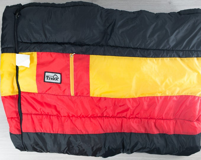 Vintage Sleeping Bag / Retro Color Blocked Road Trip Camping Road Trip Cross Country Warm Blanket / Stranger things Black, Red Yellow Bag