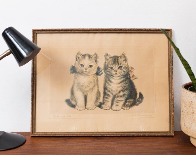 Antique Cat Lithograph - Framed Print of Brother And Sister Kitty Cats - Cute Adorable Pet Artwork Illustrations