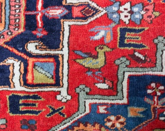 Vintage Persian Accent Rug / Hand-knotted Bohemian Floor Carpet / Area Rug in Red, Blue, White, Green Mid Century Modern Pattern