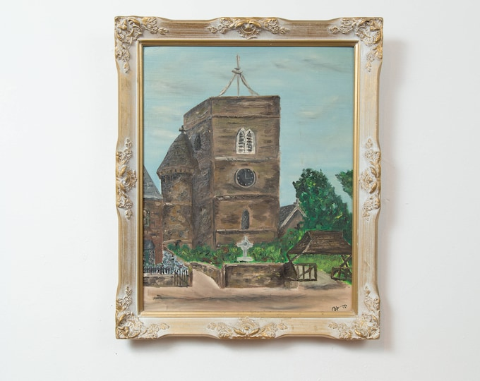 Vintage 1960's Framed Painting - Signed Artwork of a Church in a Brushed Gold and White Frame