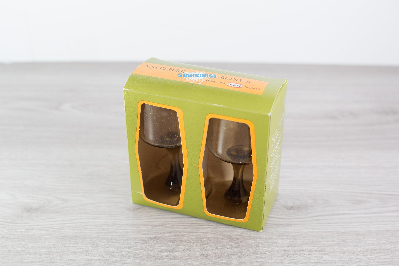 2 Brown Wine Glasses - Texaco Deadstock Safe-edge