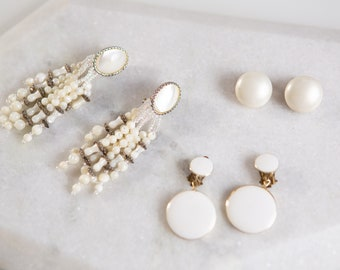 3 pairs 70's/80's Vintage Clip on Earrings - White Tone Costume Jewelry