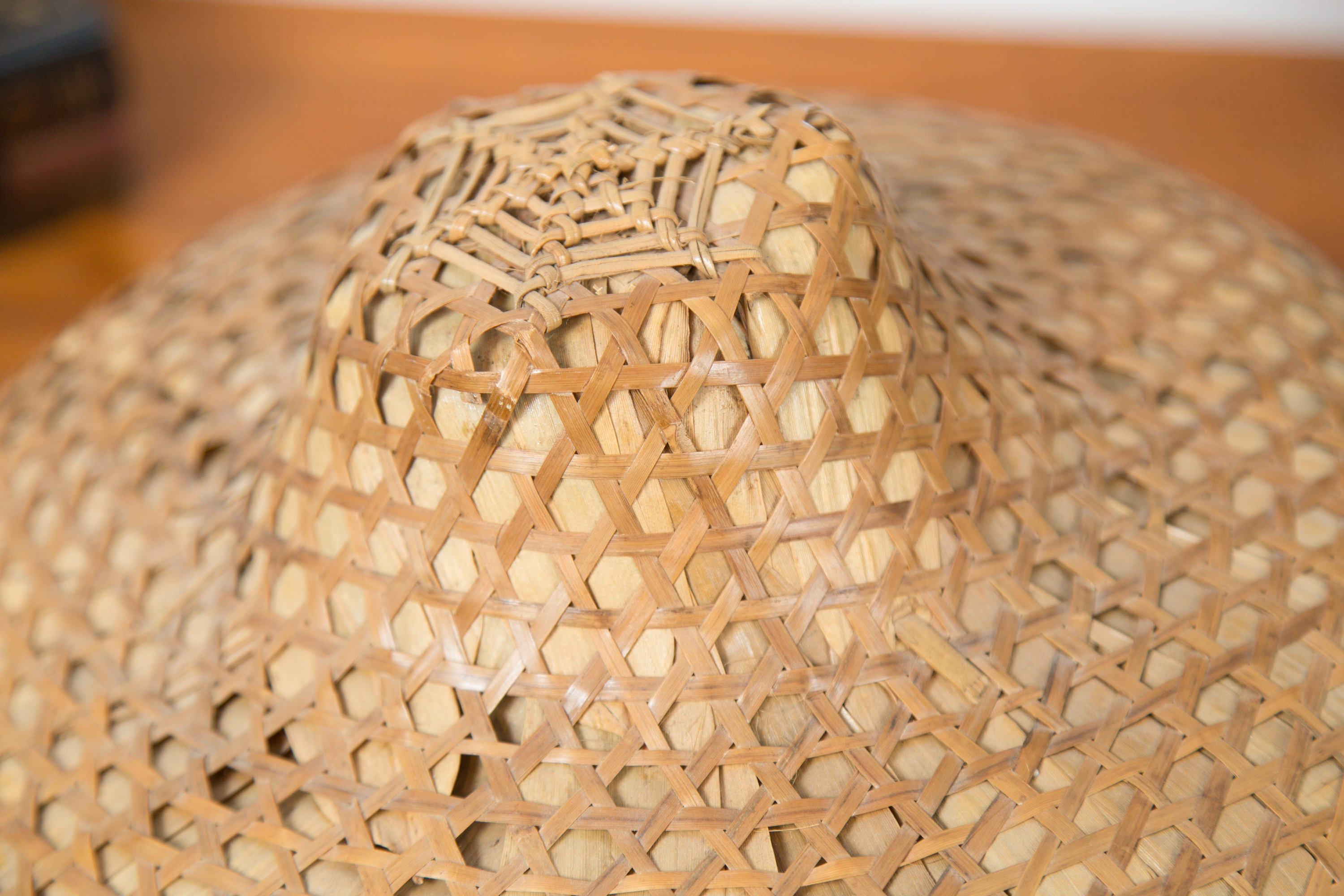 Antique Chinese Rice Hat - Rattan Wicker Asian Farmer\'s Hat with ...
